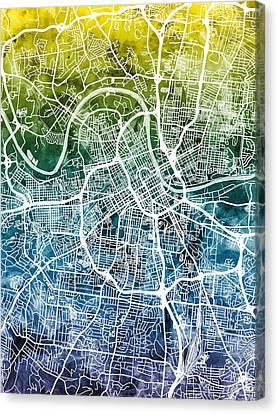 Nashville Tennessee Canvas Print - Nashville Tennessee City Map by Michael Tompsett