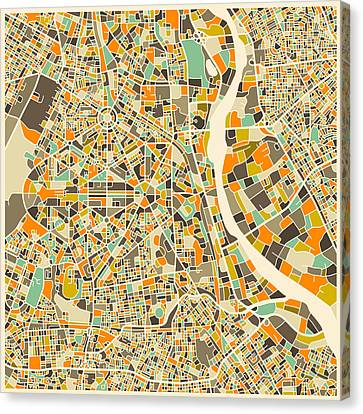 Abstract Map Canvas Print - New Delhi Map by Jazzberry Blue