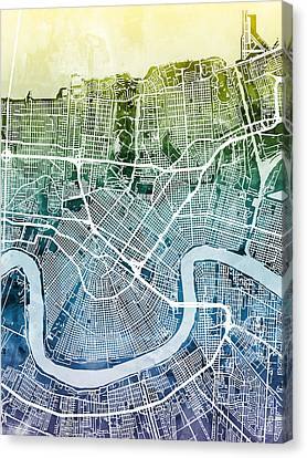 New Orleans Street Map Canvas Print by Michael Tompsett