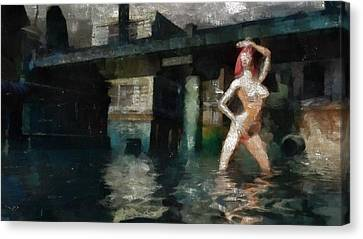 Nude In Water Canvas Print by Esoterica Art Agency