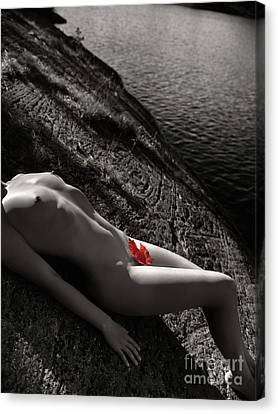 Nude Woman Lying On Rocks By The Water Canvas Print by Oleksiy Maksymenko