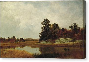 Seaside Heights Canvas Print - October In The Marshes by John Frederick Kensett