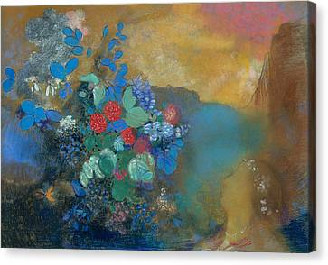Ophelia Canvas Print - Ophelia Among The Flowers by Odilon Redon