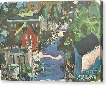 Canvas Print featuring the painting Original Contemporary Urban Painting Featuring Richmond Virginia by Robert Joyner