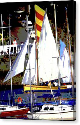 Workings Canvas Print - Oyster Boats by Brian Roscorla