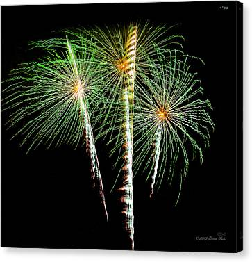 Pyrotechnic Canvas Print - 3 Palm Trees Fireworks by Brian Tada