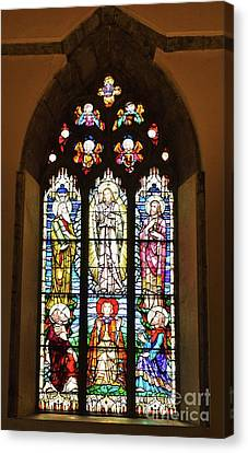 3 Pane Stained Glass In St. Nicholas Church, Galway Canvas Print by Poet's Eye