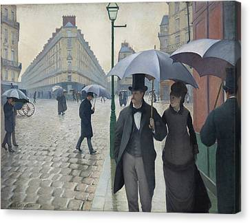 Paris Street, Rainy Day Canvas Print by Gustave Caillebotte