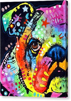 Peeking Bulldog Canvas Print by Dean Russo