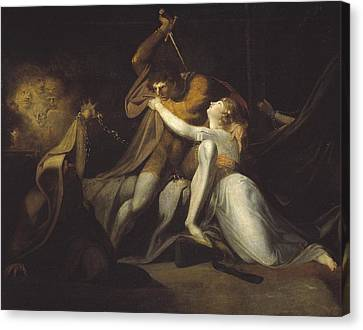 Percival Delivering Belisane From The Enchantment Of Urma Canvas Print by Henry Fuseli