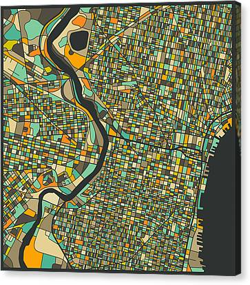Philadelphia Canvas Print - Philadelphia Map by Jazzberry Blue