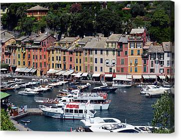 Photography Of The Beautiful Portofino Fishing Village In Italy. Aerial View On Small Bay And Colorf Canvas Print by Oana Unciuleanu