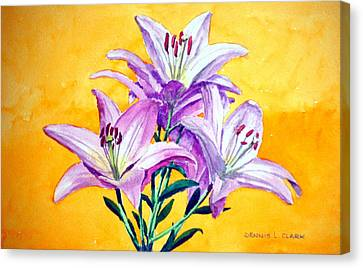 3 Pink Lilies Canvas Print by Dennis Clark