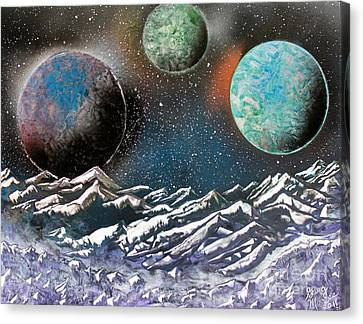 Canvas Print featuring the painting 3 Planets 4664 by Greg Moores