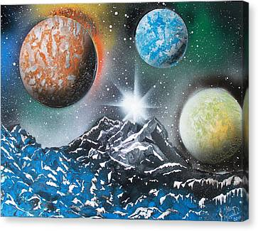 Canvas Print featuring the painting 3 Planets 4687 by Greg Moores