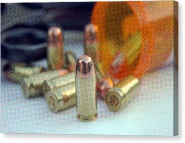 Pop Art Of .45 Cal Bullets Comming Out Of Pill Bottle Canvas Print by Michael Ledray