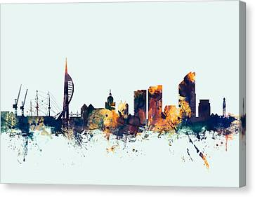 Portsmouth England Skyline Canvas Print by Michael Tompsett