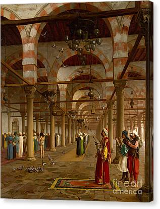 Prayer In The Mosque Canvas Print by Jean-Leon Gerome