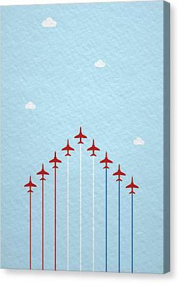 Raf Canvas Print - Raf Red Arrows In Formation by Samuel Whitton