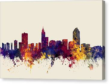 Raleigh North Carolina Skyline Canvas Print by Michael Tompsett