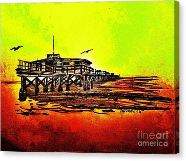 Redington Beach Florida Fishing Pier Canvas Print by Scott D Van Osdol