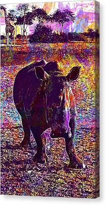 Canvas Print featuring the digital art Rhino Africa Namibia Nature Dry  by PixBreak Art