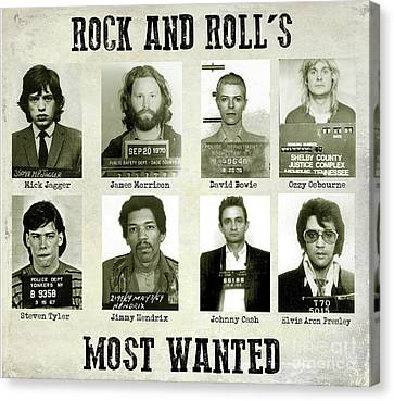 Rock And Rolls Most Wanted Canvas Print