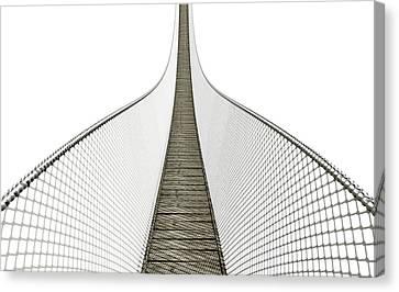 Rope Bridge On White Canvas Print by Allan Swart