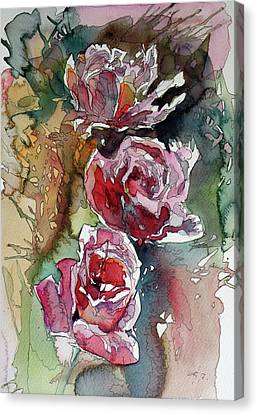 Canvas Print featuring the painting Roses by Kovacs Anna Brigitta