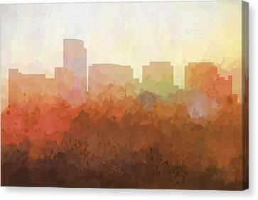 Canvas Print featuring the digital art Rosslyn Virginia Skyline by Marlene Watson