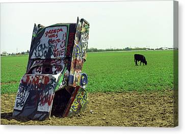 Route 66 - Cadillac Ranch Canvas Print by Frank Romeo