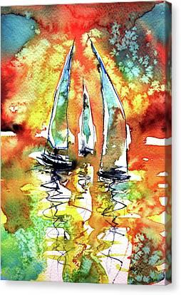Sailboats Canvas Print by Kovacs Anna Brigitta