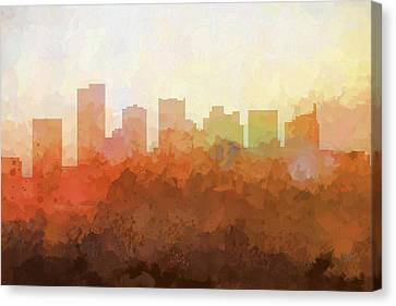 Canvas Print featuring the digital art Scottsdale Arizona Skyline by Marlene Watson