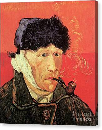Self-portrait With Bandaged Ear And Pipe Canvas Print