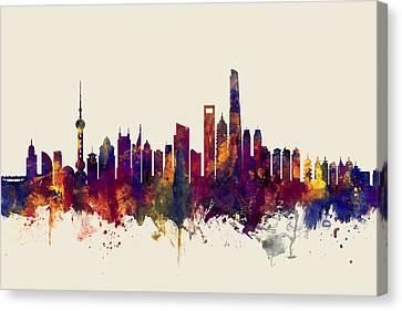 Shanghai China Skyline Canvas Print
