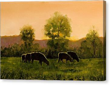 Canvas Print featuring the painting Sheep In The Pasture by John Reynolds