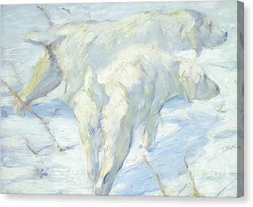 Dog In Landscape Canvas Print - Siberian Dogs In The Snow by Franz Marc