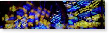 Canvas Print featuring the photograph Singapore Night Urban City Light - Series - Your Singapore by Urft Valley Art