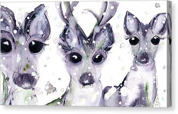 Canvas Print featuring the painting 3 Snowy Deer by Dawn Derman