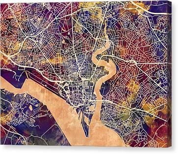 United Kingdom Canvas Print - Southampton England City Map by Michael Tompsett