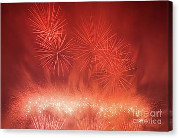 Spectacular Fireworks Show Light Up The Sky. New Year Celebration. Canvas Print