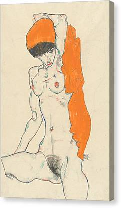 Expressionist Canvas Print - Standing Nude With Orange Drapery by Egon Schiele