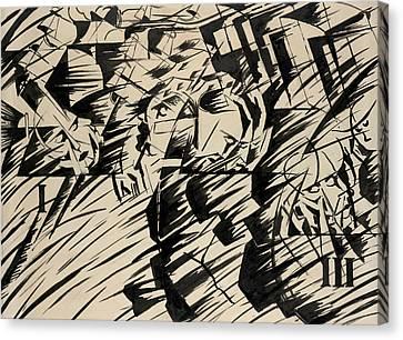Boccioni Canvas Print - States Of Mind - Those Who Go by Umberto Boccioni
