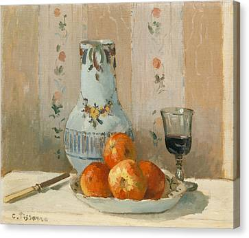 Still Life With Apples And Pitcher Canvas Print by Camille Pissarro