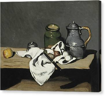 Still Life With Kettle  Canvas Print by Paul Cezanne