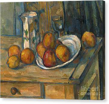 Apple Canvas Print - Still Life With Milk Jug And Fruit by Paul Cezanne
