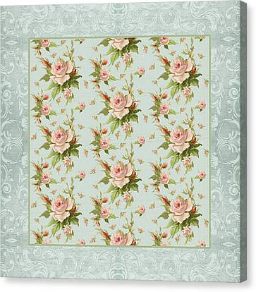 Summer At Cape May - Aged Modern Roses Pattern Canvas Print by Audrey Jeanne Roberts