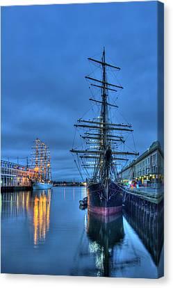 Tall Ships On Boston Harbor - Fish Pier Canvas Print