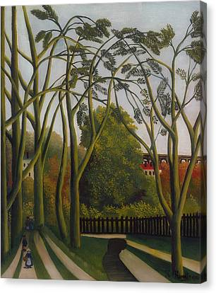 Canvas Print featuring the painting The Banks Of The Bievre Near Bicetre by Henri Rousseau