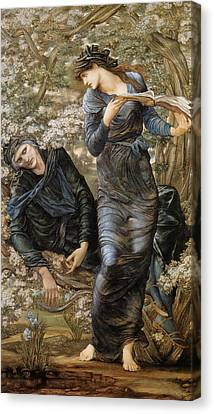 The Beguiling Of Merlin Canvas Print by Edward Burne-Jones